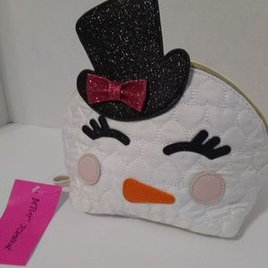 Betsey Johnson Kitsch Snowman Quilted Cosmetic Bag
